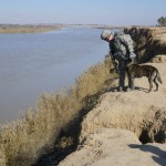 Handler &MWD checking our river bank