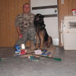 SSgt Simpson with MWD Robson and some items sent 11-2009