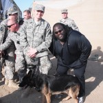 WWE SSgt Simpson with MWD Marco with WWE Star Mark Henry 12-2009